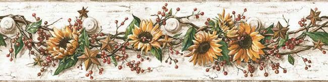 White Yellow Cb5516bd Sunflower Wallpaper Border Rustic Country