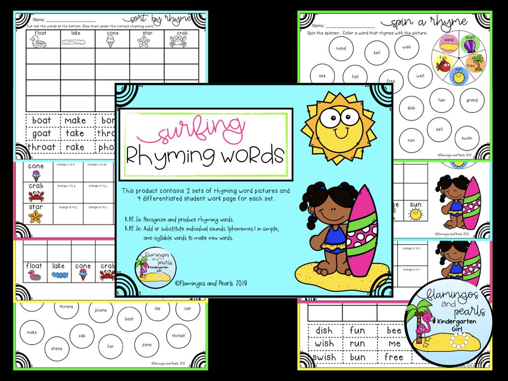 Rhyming Fun For Kindergarten Includes 2 Full Sets Of 4