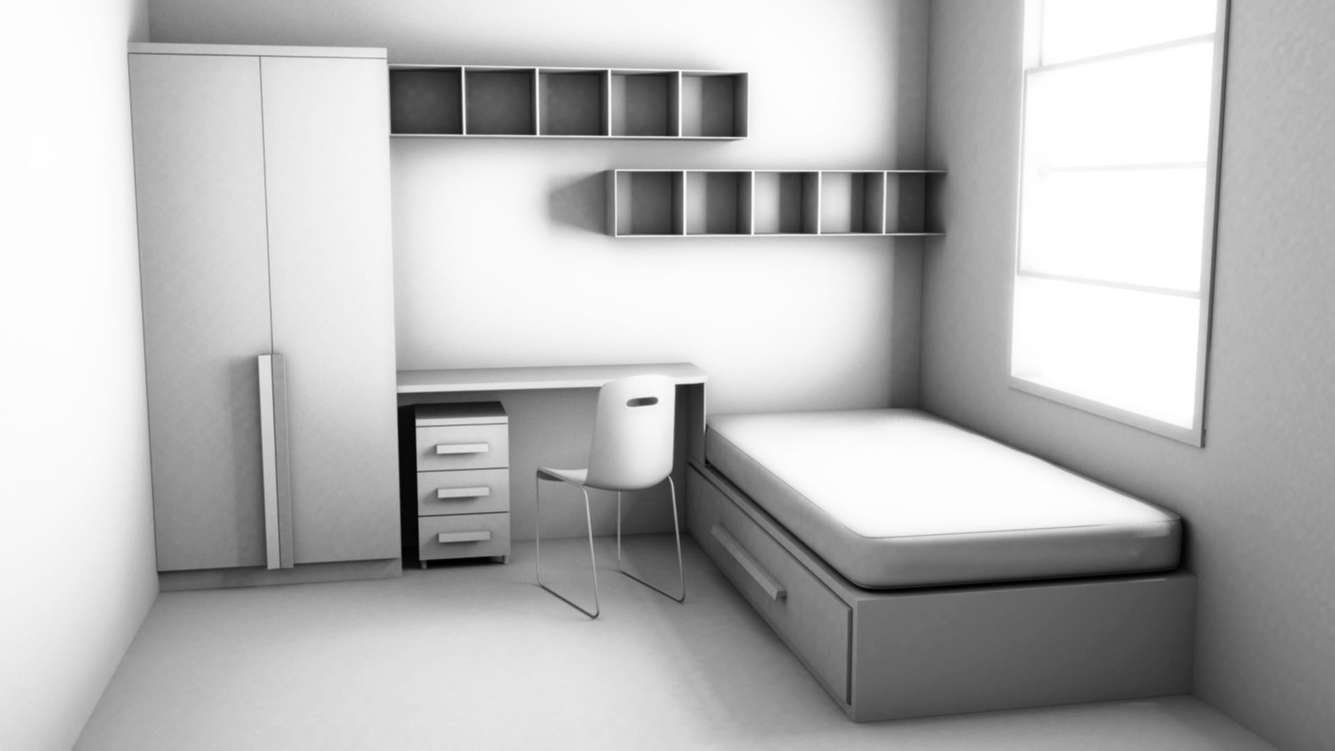 Interior bedroom followed tutorial ds max photoshop interior