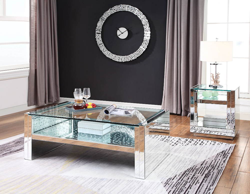 Acme Nysa Mirrored Finish Modern 3 Piece Coffee Table Set