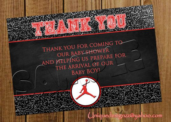 Michael Jordan Baby Shower Thank You Cards by UniqueDesignzzz – Michael Jordan Birthday Invitations