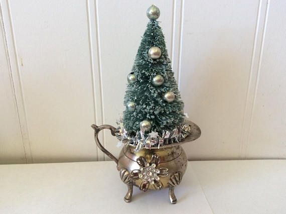 green bottle brush tree silver plate creamer farmhouse - Silver Plated Christmas Tree Decorations