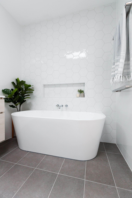 Freestanding Bath Main Bathroom Floating Vanity Grey Bathroom Tiles Room Flooring