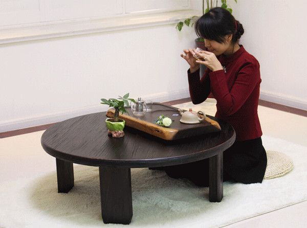 2019 Round Japanese Table Folding Legs 98cm Asian Antique