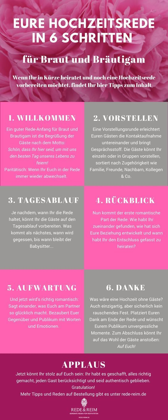 Hochzeitsrede Fur Braut Und Brautigam In 6 Schritten Hochzeitsreden Hochzeit Rede Hochzeit