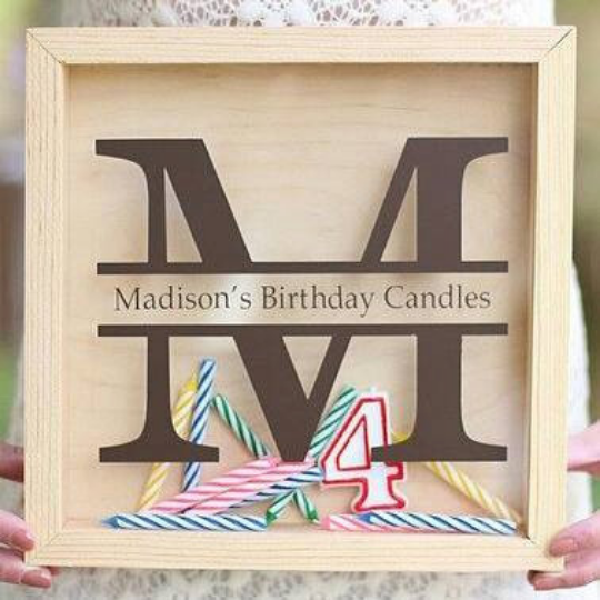 First Birthday Shadow Box for Candle Storage