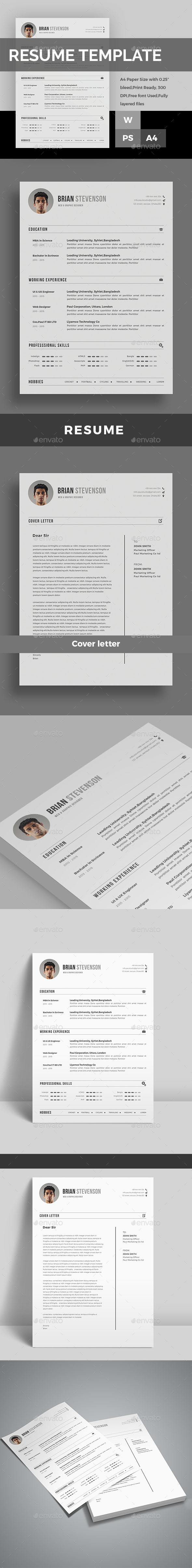 Resume A4 Template PSD, MS Word Best resume template