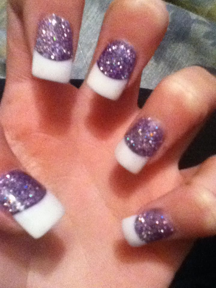 purple glitter white tip nails