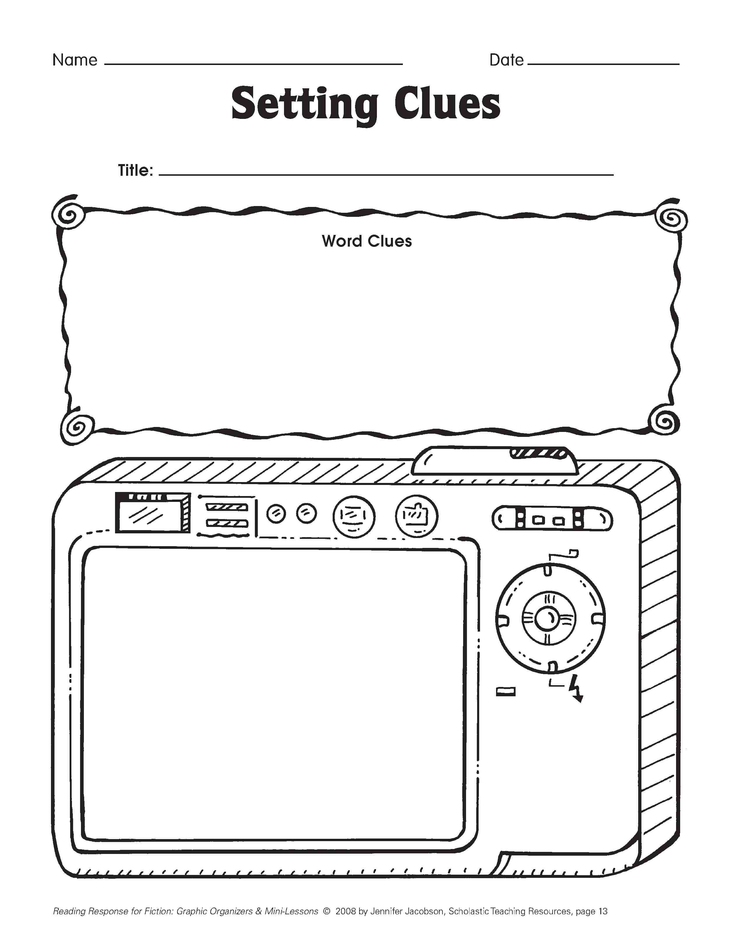 worksheet Character And Setting Worksheets five minute reading responses scholastic com free printable on setting using words from the