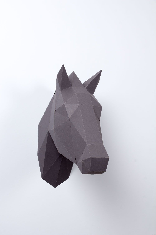Pferdekopf 3D (mit Bildern) Pferdekopf, 3d origami pferd