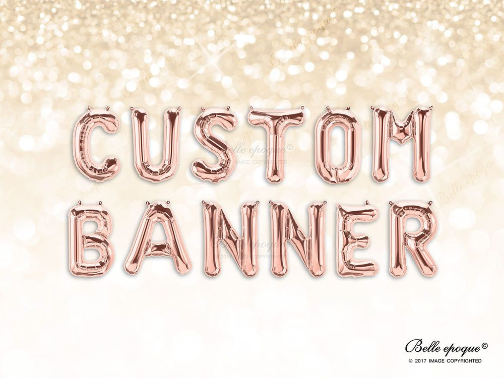 Rose Gold Balloons Gold Letter Birthday Silver 16 Inch Custom Name