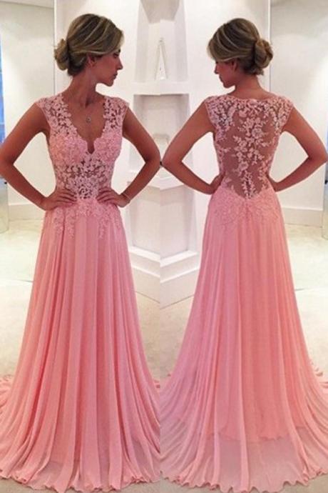 Classic Prom Dress/Evening Dress- Pink A-Line V-Neck Court Train ...