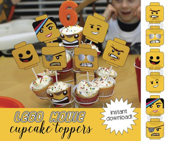 Lego Movie inspired cupcake toppers, printable file ...