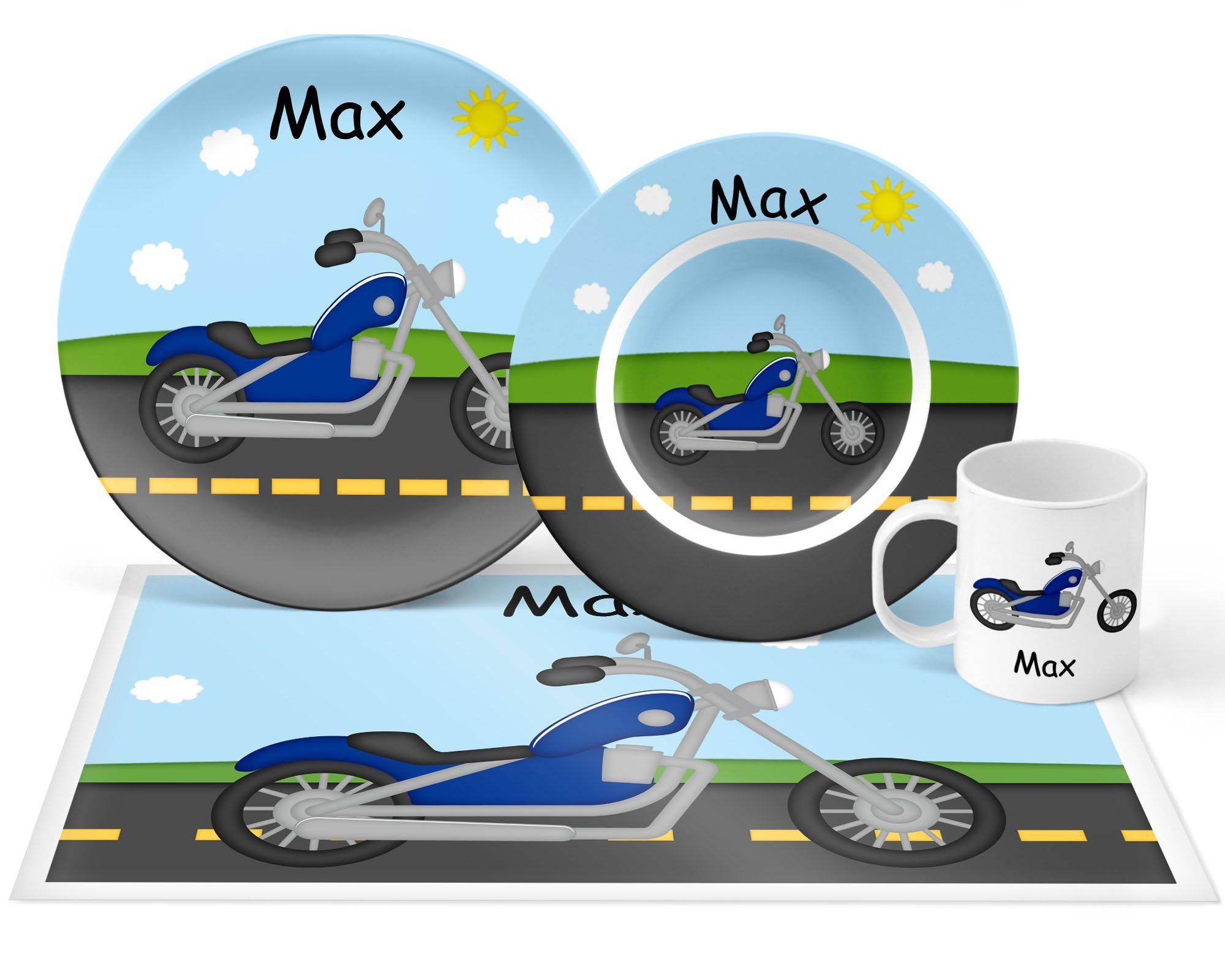 Motorcycle Plate Set Personalized Kids Plate Bowl Mug Placemat Motorcycle Plate Set Kids Plastic Tableware Microwave Safe Kids Plates Plate Sets Personalized Plastic Plates