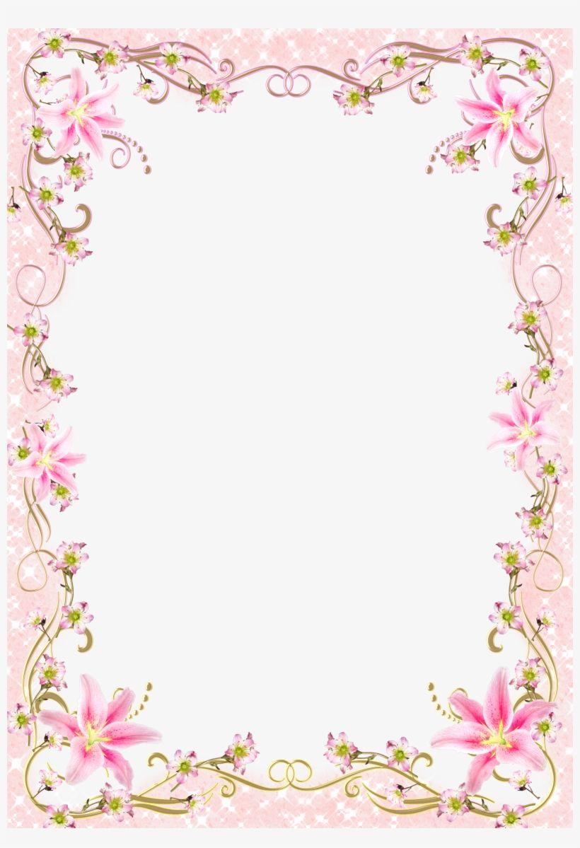 Pink Floral Border Png Jpg Transparent Frame Border Line Design Transparent Png Download Floral Watercolor Background Floral Border Line Design