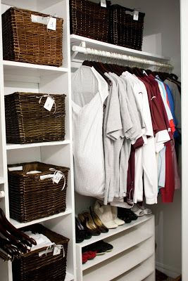 Bedroom Closet Organization Using Baskets Before Closet