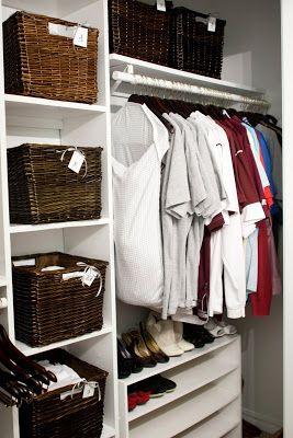 Charmant Bedroom Closet Organization Using Baskets #before #closet #organizing