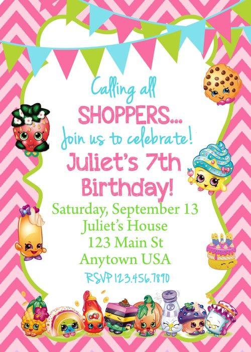 SHOPKINS BIRTHDAY INVITATION Ellas Birthday Pinterest Shopkins