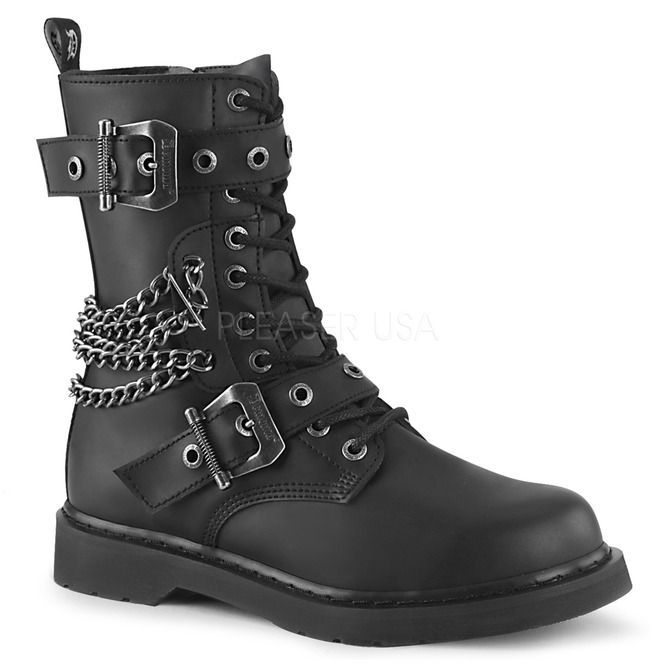 Bolt Mid Calf Lace Up Combat Boots With Chain Demonia Black Combat Boots Combat Boots Combat Boots Men