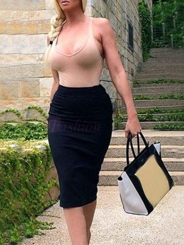 Low-Cut O-Neck Tank Top Slit Knee Length Slim Skirt Contrast Color Two-Piece Dress on fashionsure.com