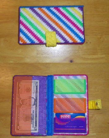Neon zigzag wallet christina roth plastic canvas for Plastic canvas crafts for kids