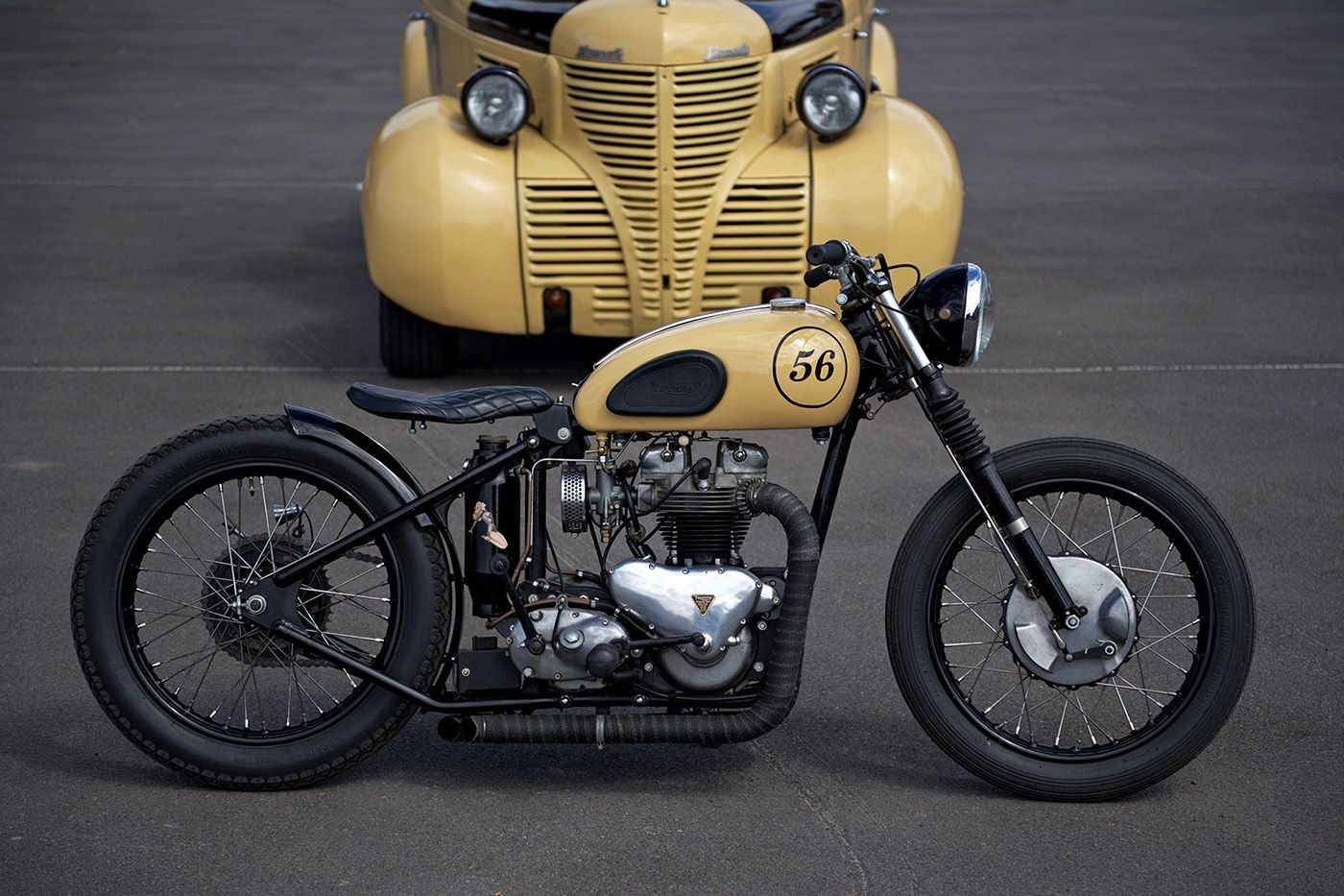 this is a great bobber motorcycle that was at sturgis in the world