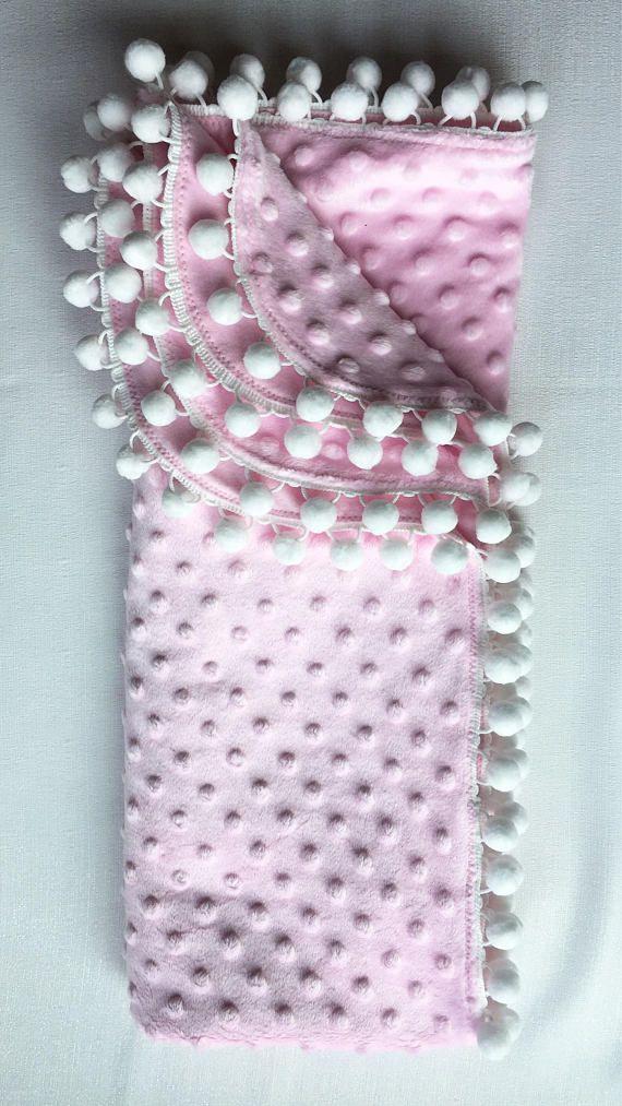 girl Pom pom Blanket White and gold polka dot Cotton Knit swaddle Baby Blankets