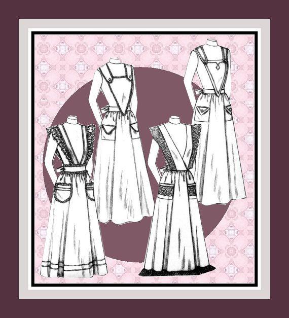 TITANTIC ERA-EDWARDIAN- Historical Apron Set-Sewing Pattern Four ...