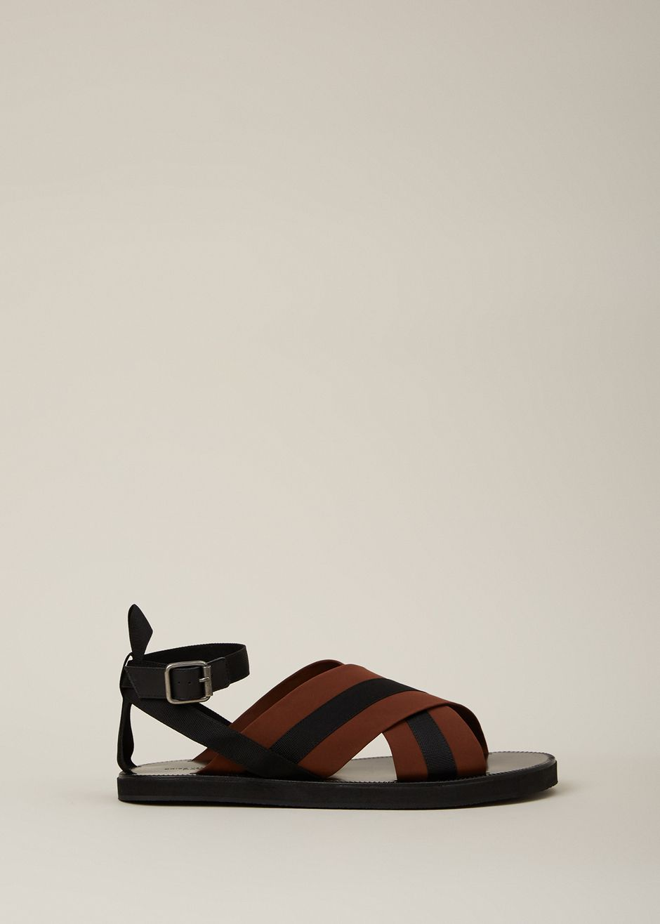discount explore Dries Van Noten Leather Crossover Sandals free shipping cheap quality 2HPd5mm