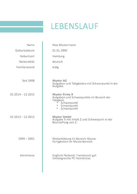 Bewerbung Muster Lebenslauf 2016 Muster Und Vorlagen Resume