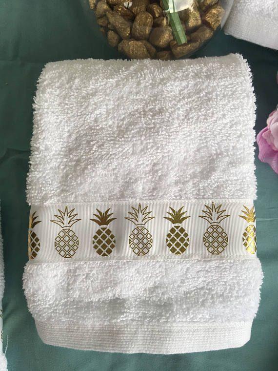 Pineapple White Decorative Towel Set Decorative Towels Towel Set Towel