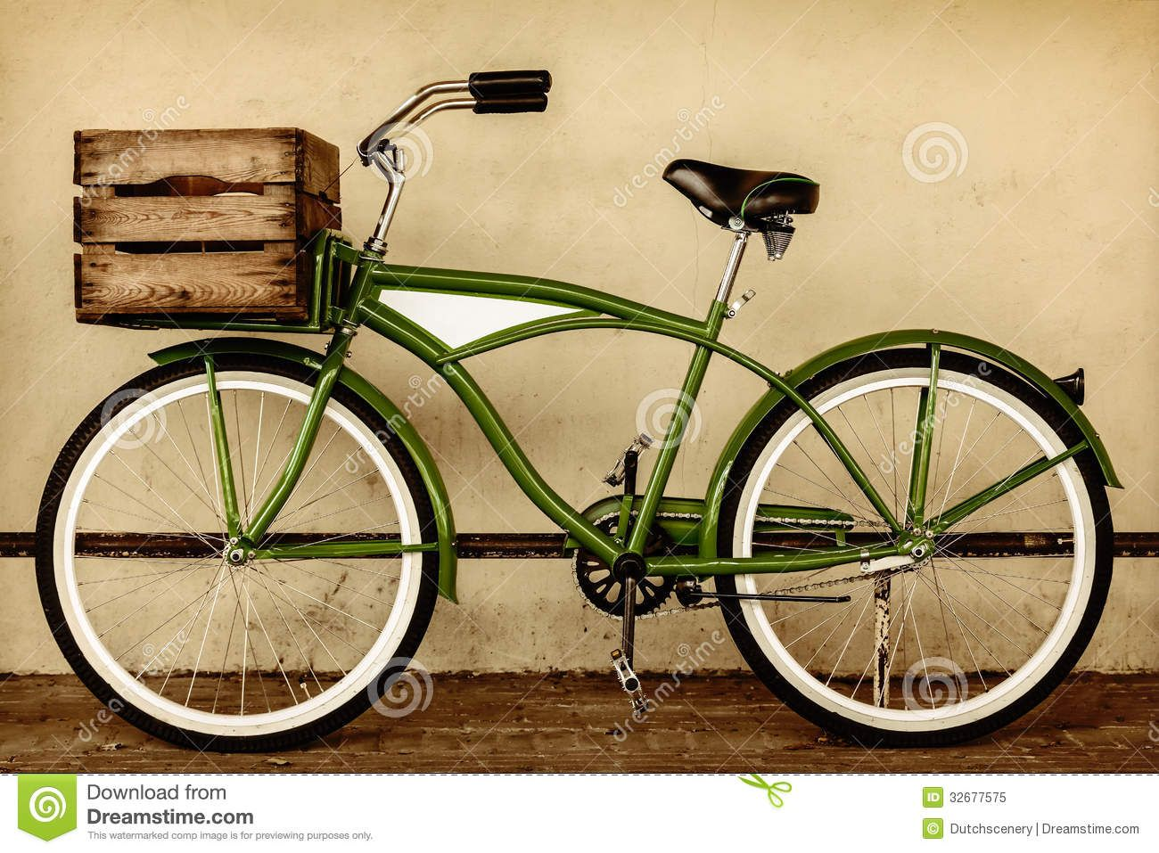 Retro Styled Sepia Image Of A Vintage Beach Cruiser Bicycle With Wooden Crate Stock Photo 21576496