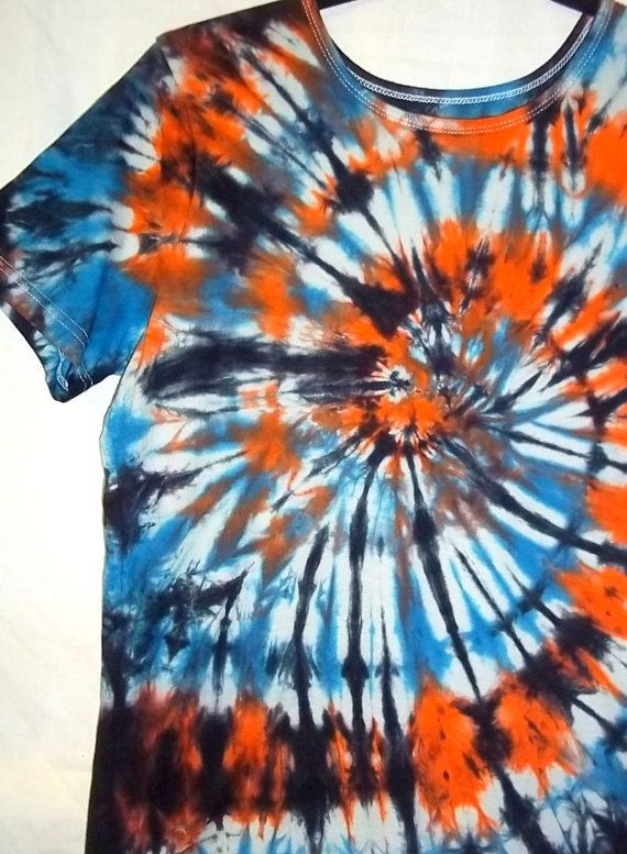 dad1003b Tie Dye Spiral Blue and Orange with Black by TieDyeRedeemedByRed ...
