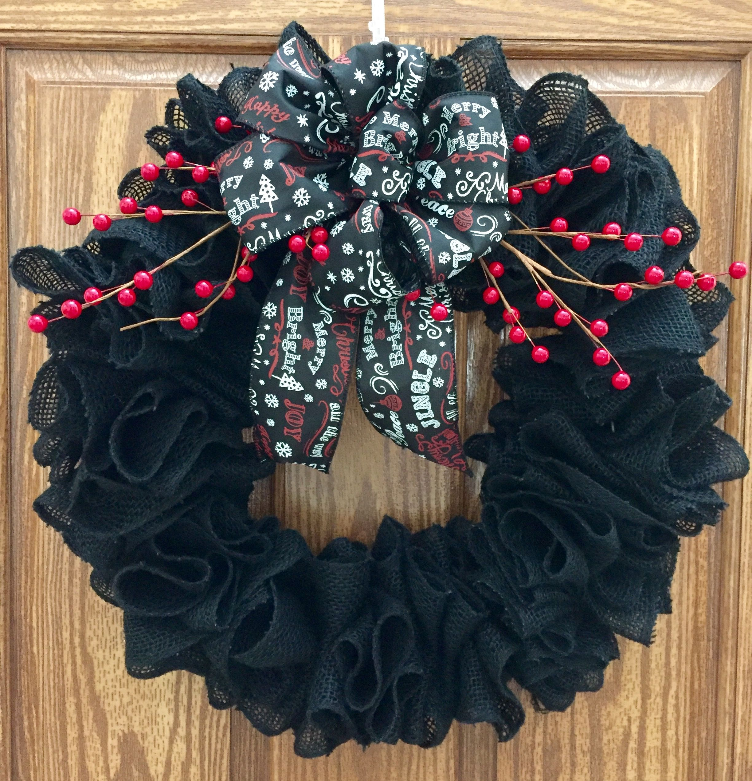 I made this beautiful black burlap Christmas Wreath. If you are interested let me know.