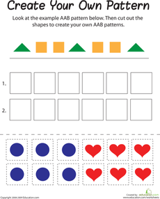 Aab Pattern Math Patterns Pattern Worksheet Shapes Worksheet