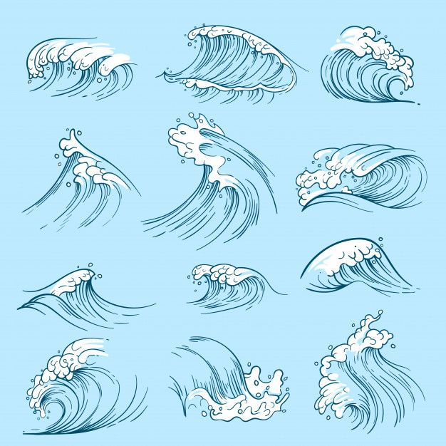 Sketch Ocean Waves. Hand Drawn Marine Vector Tides