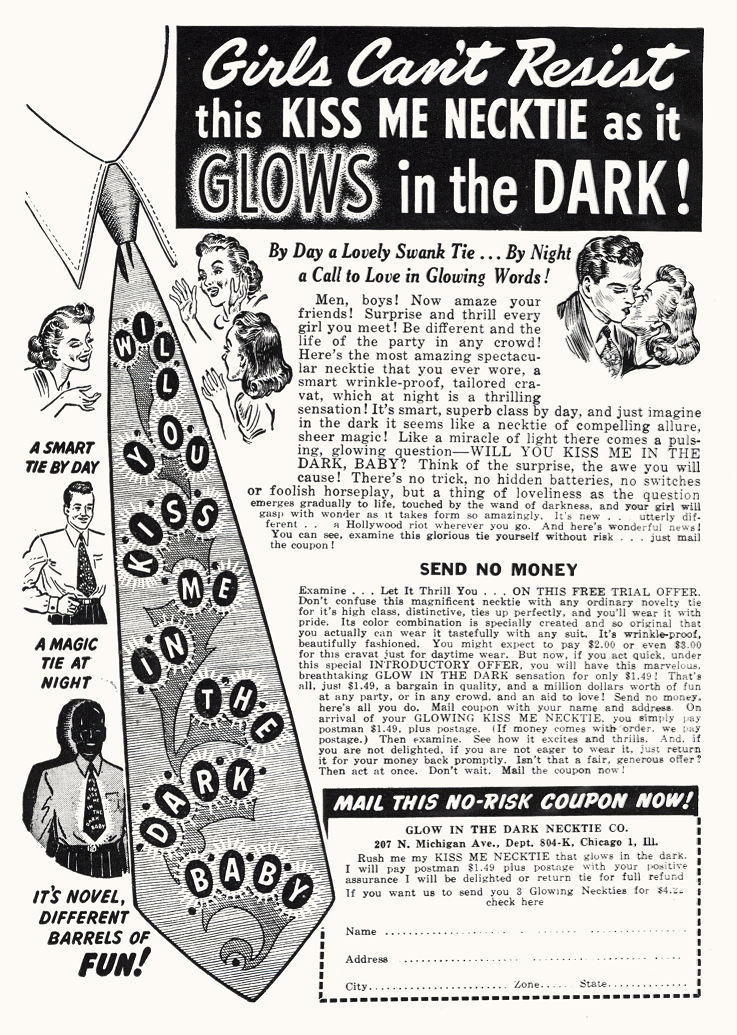 """Glow in the dark tie ad, 1944. """"By Day a Lovely Swank Tie"""