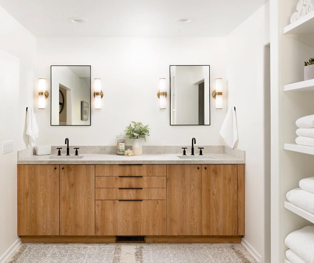 Love Seeing Ikea Kitchen Cabinets In Other Rooms Here A Santa Barbara Ca Master Bath Beautifu Stylish Bathroom Modern Bathroom Cabinets Ikea Kitchen Cabinets