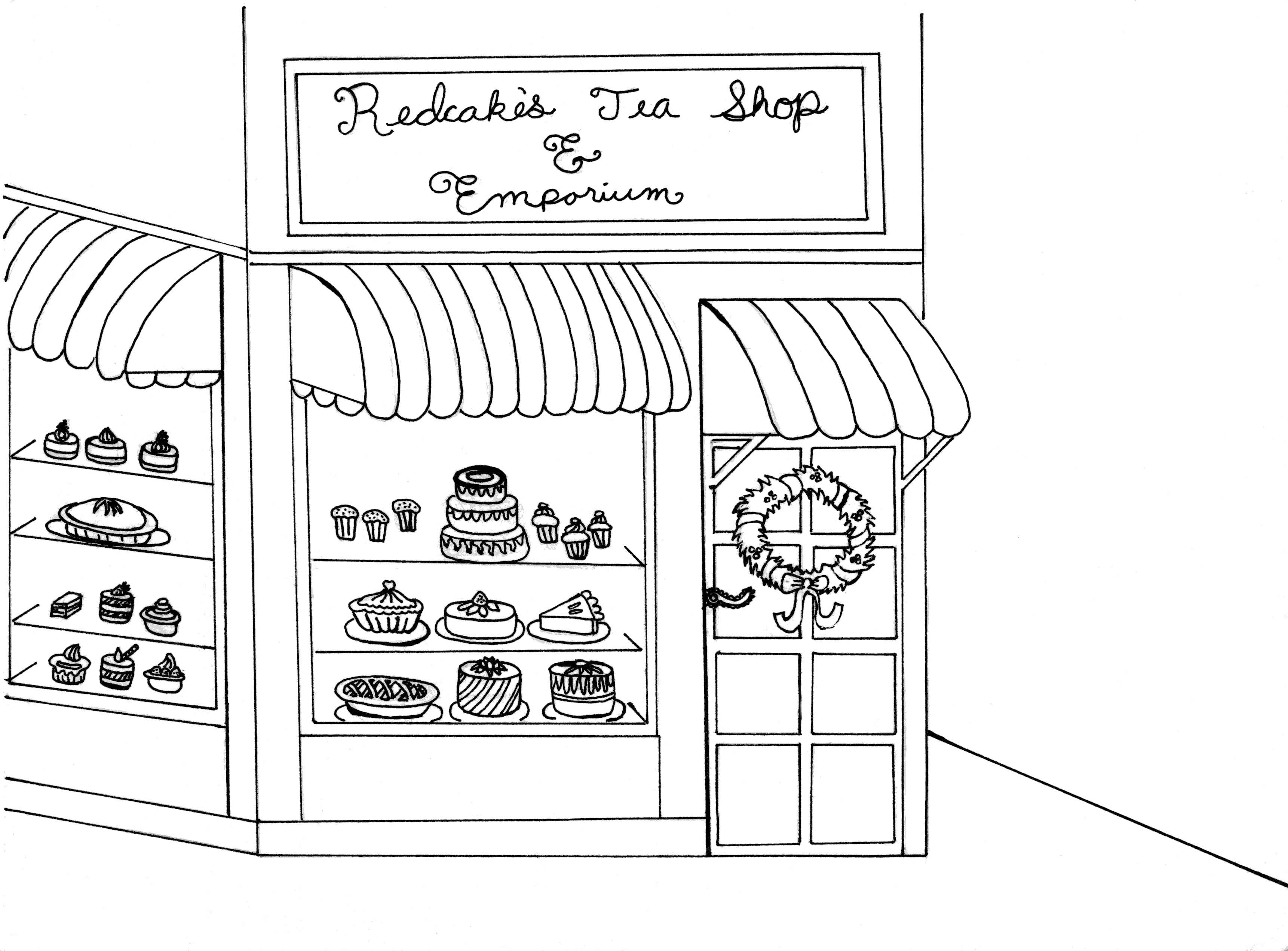 Redcakes Tea Shop 1880s Coloring Page Art By Stand In Honor Of The