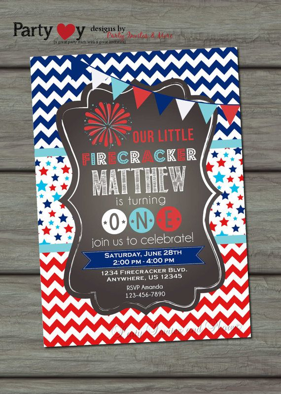 4th Of July Firecracker Birthday Red White By PartyInvitesAndMore 1000