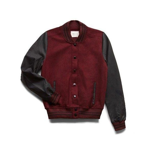 Faux Leather Varsity Jacket (1 165 UAH) ❤ liked on Polyvore
