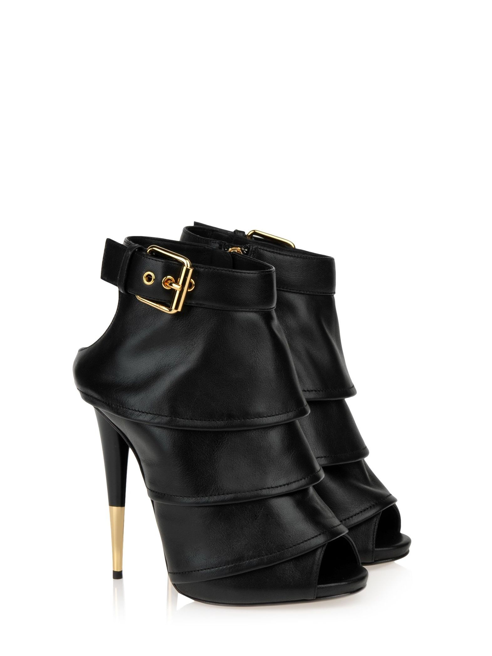 11e17aa6dc Giuseppe Zanotti heels ankle booties in black Leather with golden ...