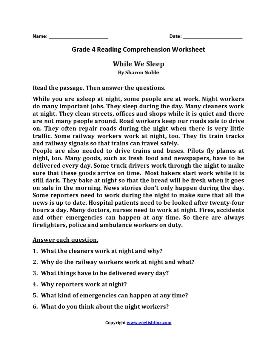 Reading Worksheets   Fourth Grade Reading Worksheets   Comprehension  worksheets [ 1200 x 928 Pixel ]