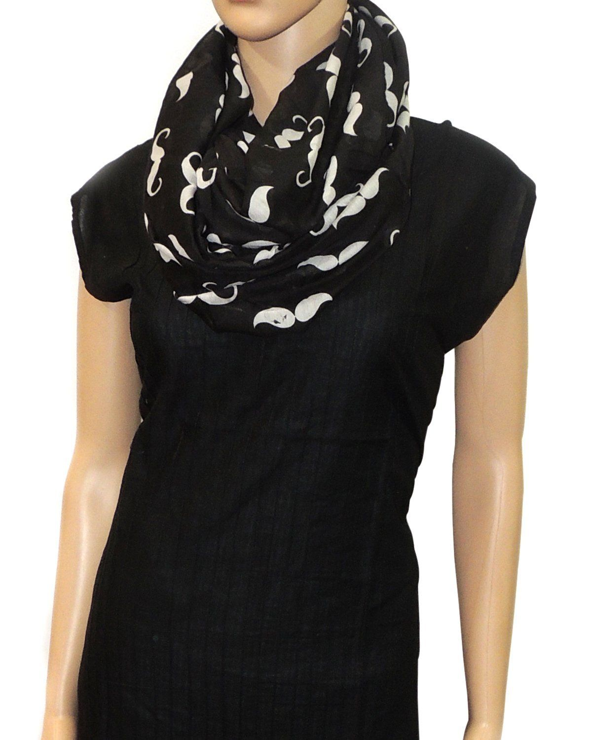 d32ec3b9f22087 INDIAN FASHION GURU, Infinity Stole, polycotton, moustache print, black,  white, casual, trendy, reasonable: Amazon.in: Clothing & Accessories