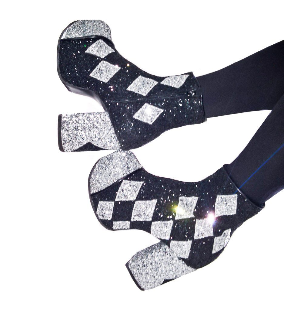 4465cd53afa HARLEQUIN Diamond Glitter Platform Boots - Made to order by Isabella Mars