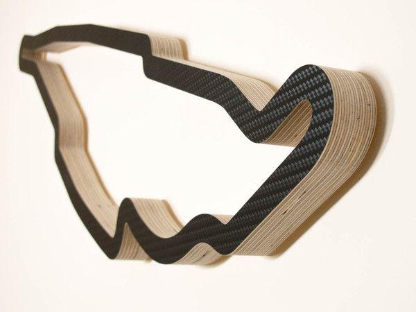 Circuit Gilles Villeneuve Canada Wood F1 Grand Prix Racing Track Art Model Close Up in a Carbon Finish