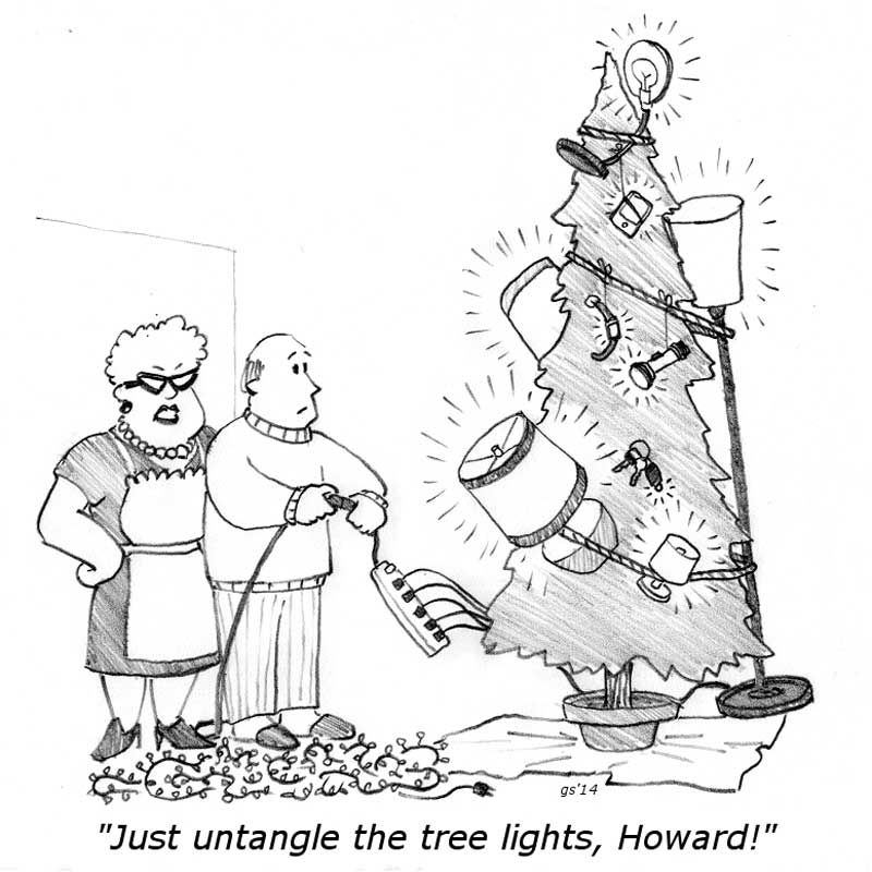 """Thoughts for Pennies"" - Tree Lights - Cartoon by Glenn Storm."