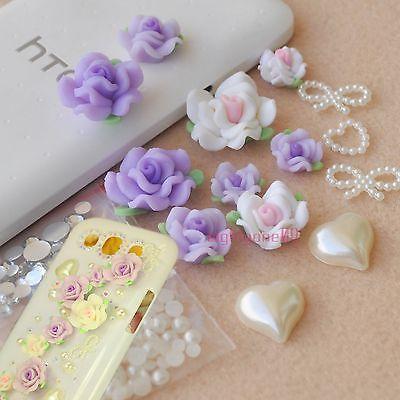 3D DIY Bling Cell Phone Case polymer clay Purple White Rose Gem Bow DECO DEN KIT