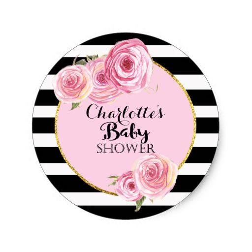 Vintage Pink Flower Baby Shower cicles sticker