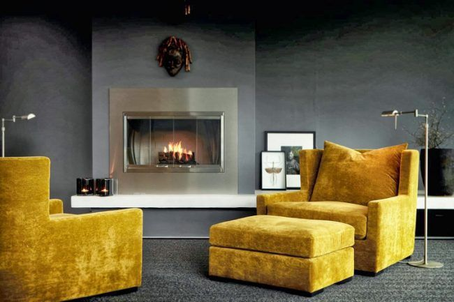farbe-ocker-kombinieren-dunkelgrau-wohnzimmer-stahl-kamineinsatz ...